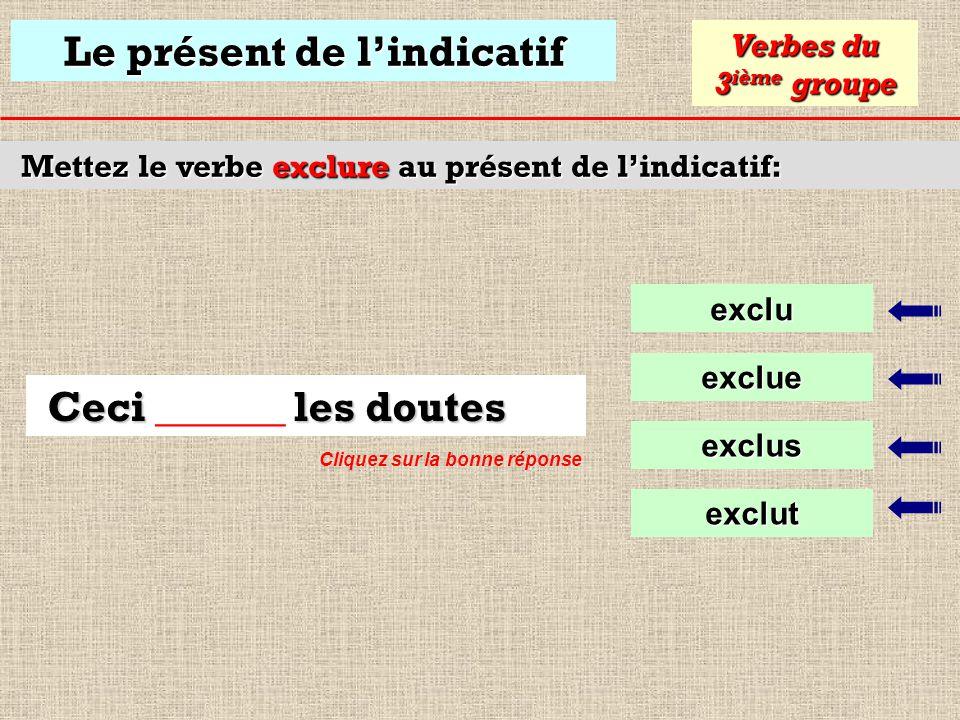 Le présent de lindicatif Mettez le verbe rejoindre au présent de lindicatif: rejoinds Verbes du 3 ième groupe rejoins Je te rejoins au bureau rejoints