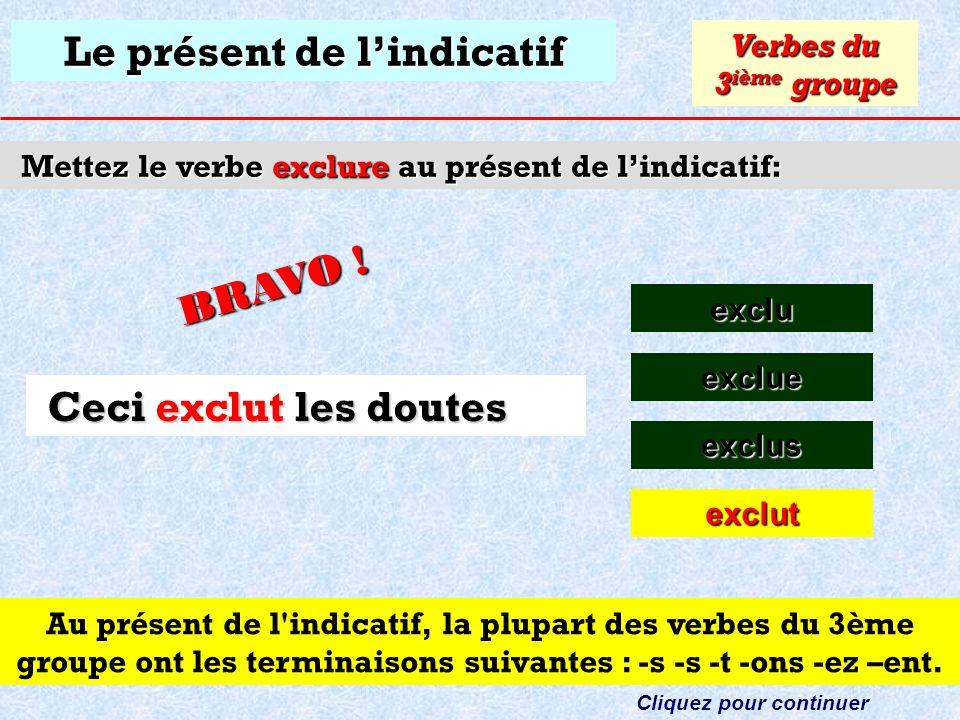 Le présent de lindicatif Mettez le verbe exclure au présent de lindicatif: exclu Verbes du 3 ième groupe exclue Cliquez sur la bonne réponse Ceci les