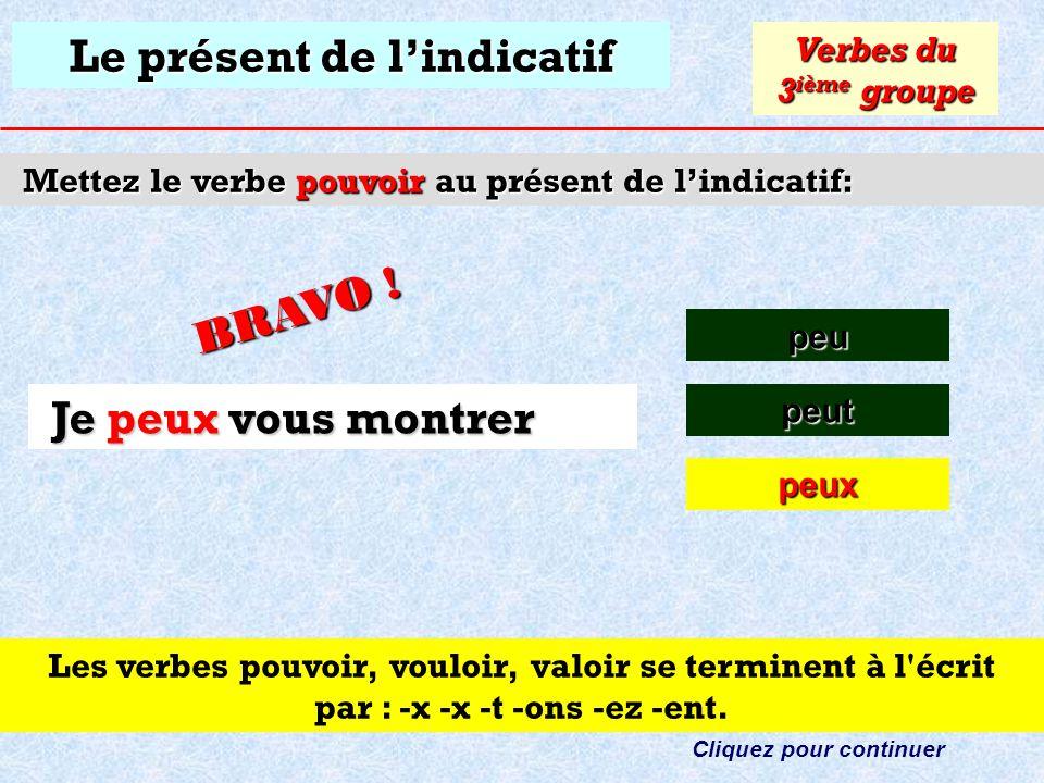Le présent de lindicatif Mettez le verbe pouvoir au présent de lindicatif: peu Verbes du 3 ième groupe peut Cliquez sur la bonne réponse Je vous montr