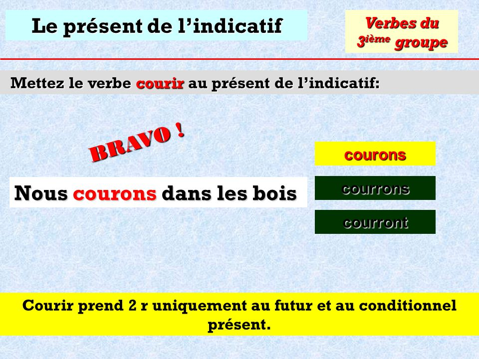 Le présent de lindicatif Mettez le verbe courir au présent de lindicatif: courons Verbes du 3 ième groupe courrons Cliquez sur la bonne réponse Nous d