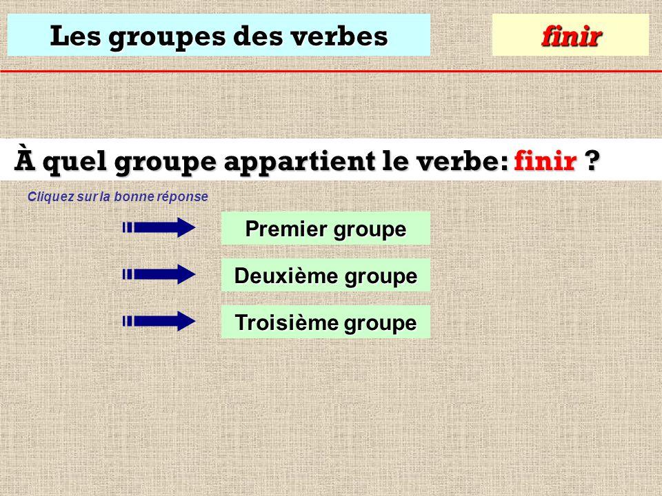 Les groupes des verbes À quel groupe appartient le verbe: finir .