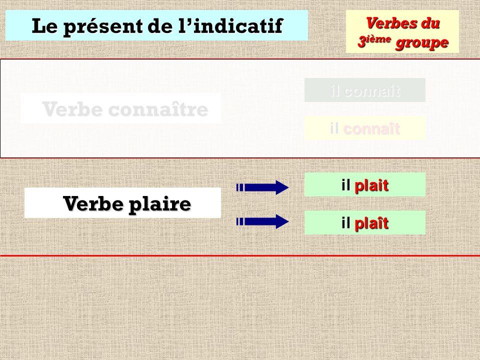 Le présent de lindicatif il connait il connait Verbes du 3 ième groupe Verbe connaître il connaît il connaît