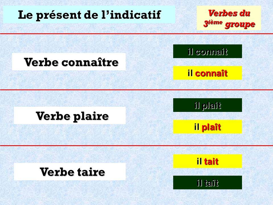 Le présent de lindicatif il connait il connait Verbes du 3 ième groupe Verbe connaître Verbe plaire Verbe taire il connaît il connaît il plait il plai