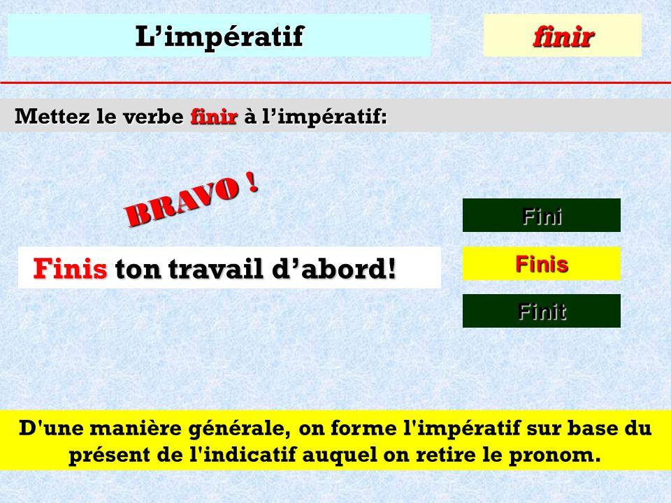 Limpératif Mettez le verbe finir à limpératif: Fini finir Finis F ton travail dabord! F_____ ton travail dabord! Finit
