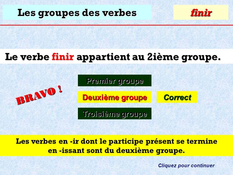 Les groupes des verbes À quel groupe appartient le verbe: finir ? Premier groupe Premier groupefinir Deuxième groupe Deuxième groupe Troisième groupe