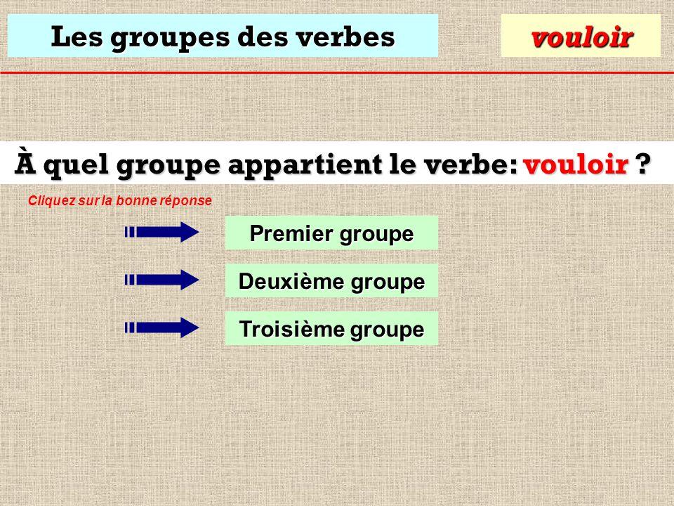Les groupes des verbes À quel groupe appartient le verbe: vouloir .