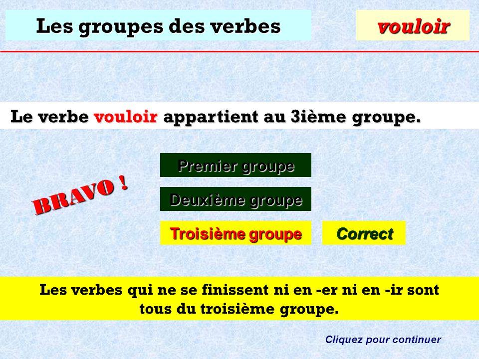 Les groupes des verbes À quel groupe appartient le verbe: vouloir ? Premier groupe Premier groupevouloir Deuxième groupe Deuxième groupe Troisième gro
