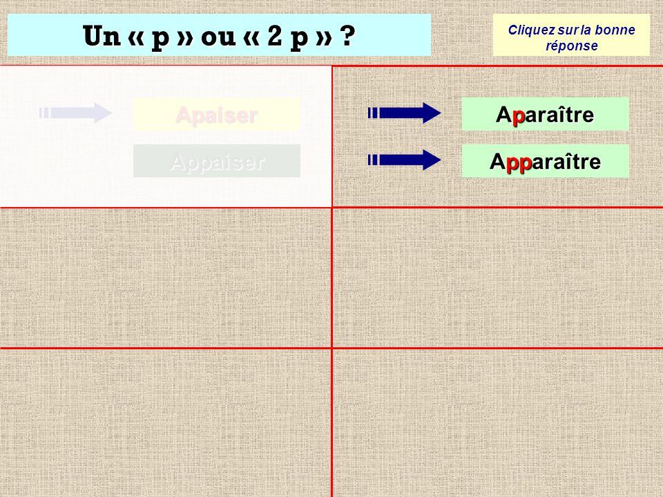 Un « p » ou « 2 p » ? Cliquez sur la bonne réponse Apaiser Apaiser Appaiser Appaiser