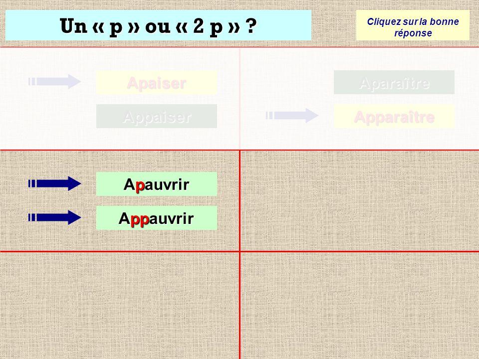 Un « p » ou « 2 p » ? Cliquez sur la bonne réponse Apaiser Appaiser Aparaître Aparaître Apparaître Apparaître