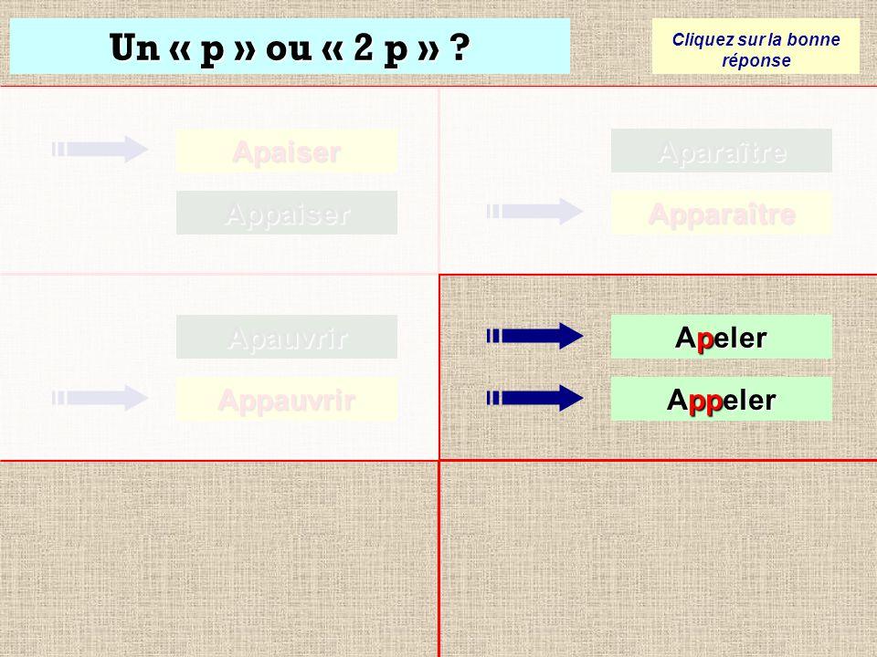 Un « p » ou « 2 p » ? Cliquez sur la bonne réponse Apaiser Appaiser Apauvrir Apauvrir Appauvrir AppauvrirAparaître Apparaître