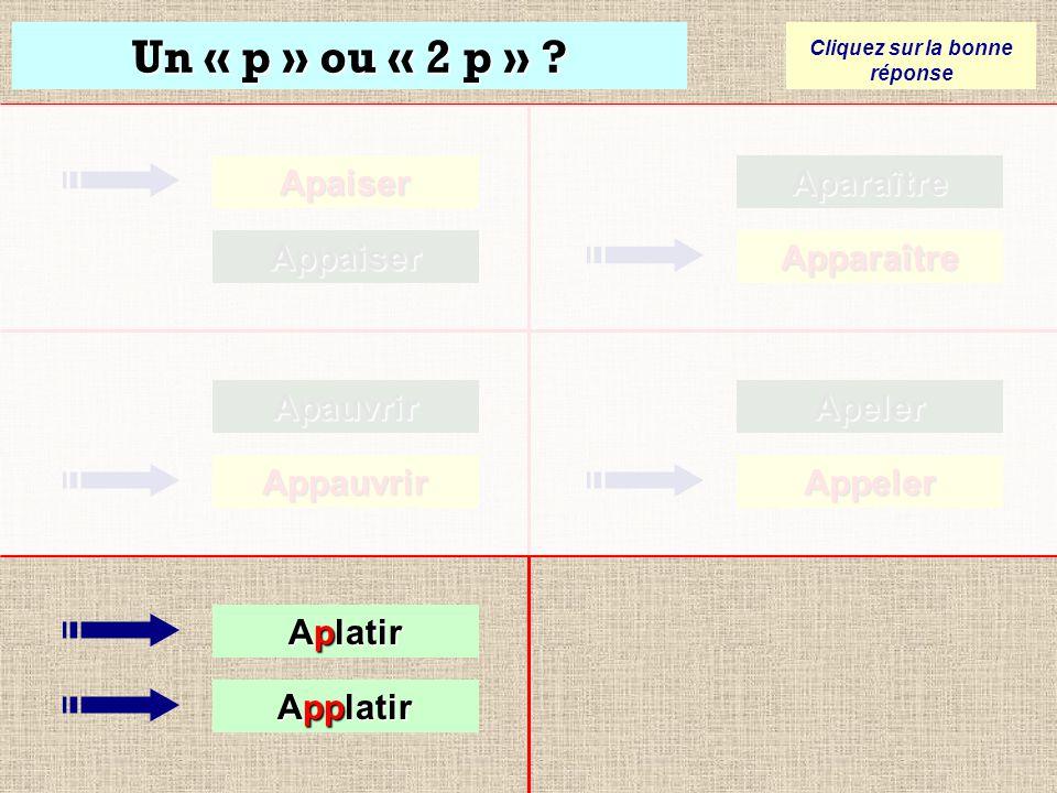 Un « p » ou « 2 p » ? Cliquez sur la bonne réponse Apaiser Appaiser Apauvrir Appauvrir Aparaître Apparaître Apeler Apeler Appeler Appeler