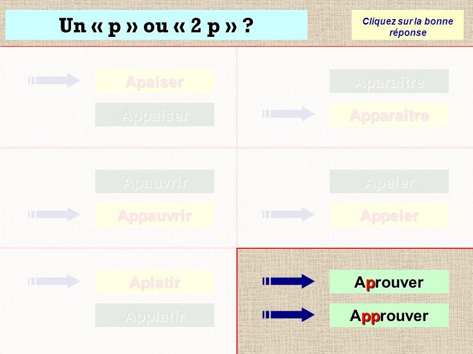Un « p » ou « 2 p » ? Cliquez sur la bonne réponse Apaiser Appaiser Apauvrir Appauvrir Aplatir Aplatir Applatir ApplatirAparaître Apparaître Apeler Ap
