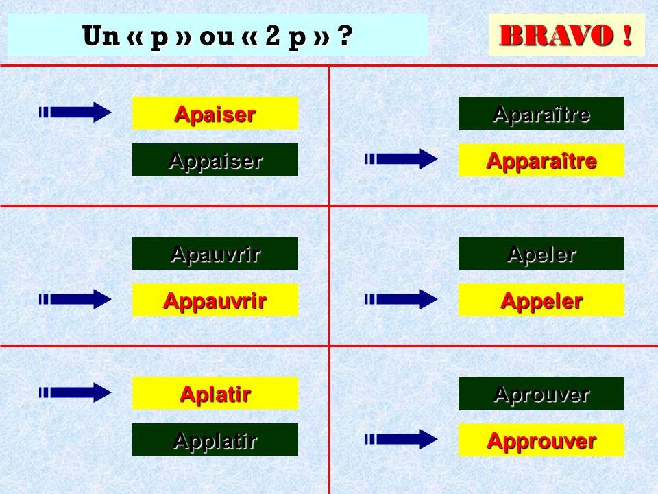 Un « p » ou « 2 p » ? Approuver Approuver Aprouver Aprouver Cliquez sur la bonne réponse Apaiser Appaiser Apauvrir Appauvrir Aplatir Applatir Aparaîtr