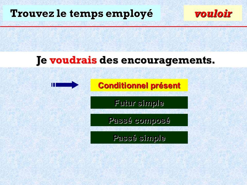 Trouvez le temps employé Je voudrais des encouragements. Conditionnel présent Conditionnel présentvouloir Futur simple Futur simple Passé composé Pass