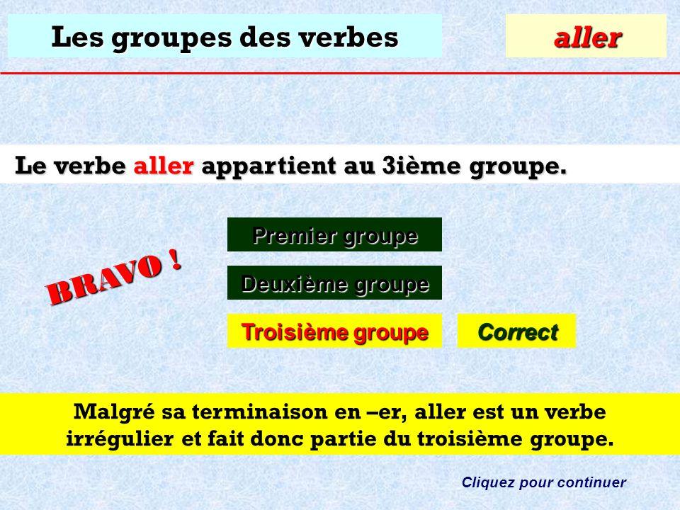 Les groupes des verbes À quel groupe appartient le verbe: aller ? Premier groupe Premier groupealler Deuxième groupe Deuxième groupe Troisième groupe