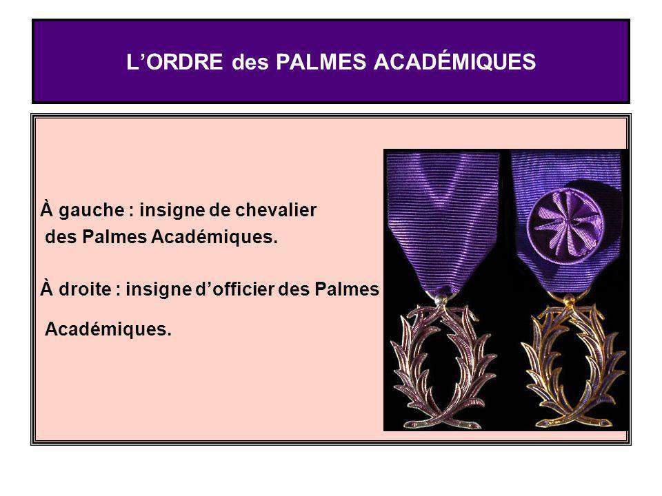 LORDRE des PALMES ACADÉMIQUES À gauche : insigne de chevalier des Palmes Académiques. À droite : insigne dofficier des Palmes Académiques.