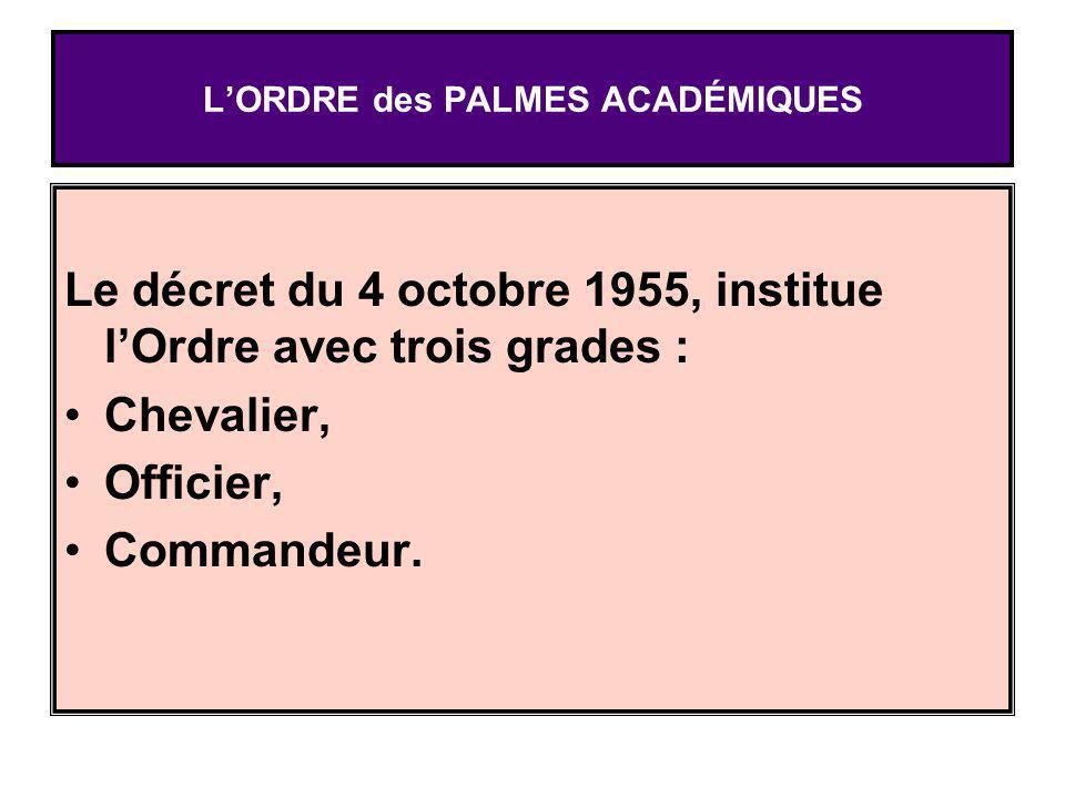 LORDRE des PALMES ACADÉMIQUES Le décret du 4 octobre 1955, institue lOrdre avec trois grades : Chevalier, Officier, Commandeur.