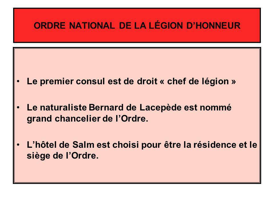 Le premier consul est de droit « chef de légion » Le naturaliste Bernard de Lacepède est nommé grand chancelier de lOrdre. Lhôtel de Salm est choisi p