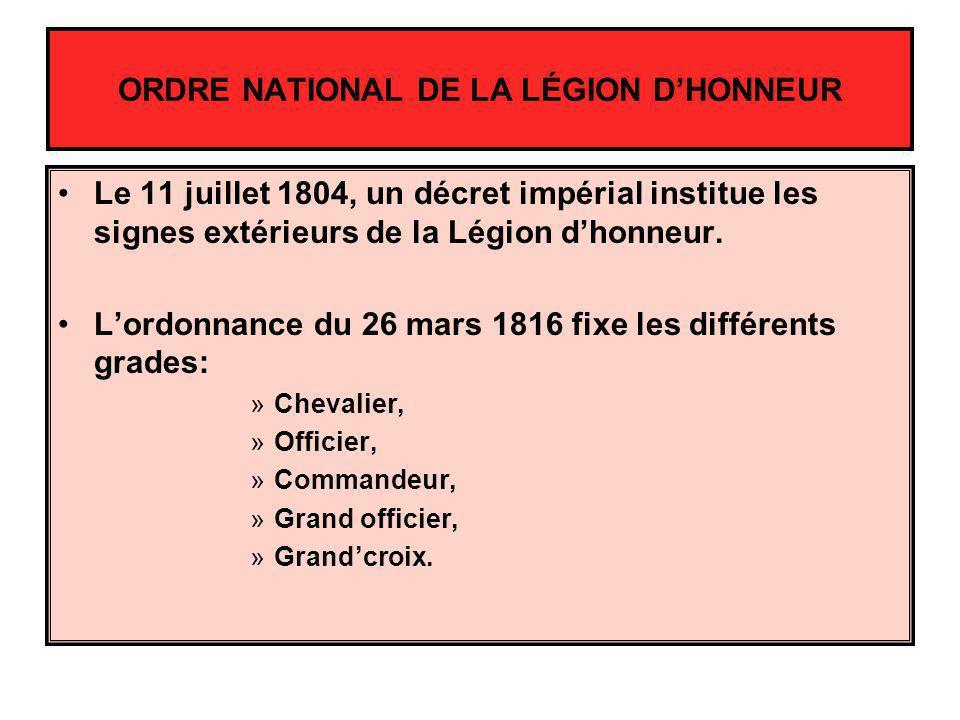 ORDRE NATIONAL DE LA LÉGION DHONNEUR Le 11 juillet 1804, un décret impérial institue les signes extérieurs de la Légion dhonneur. Lordonnance du 26 ma