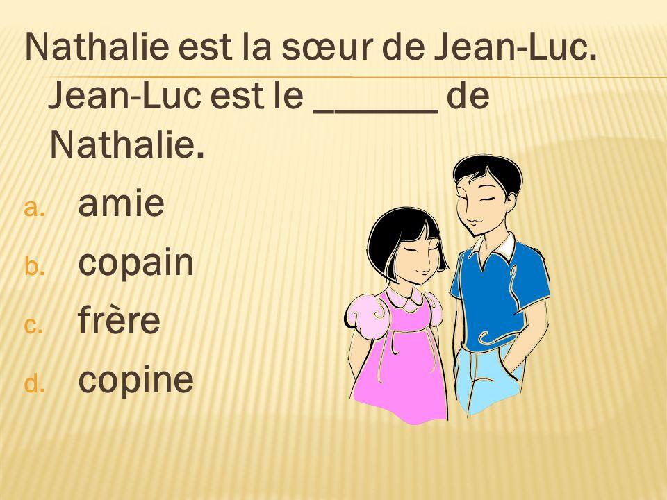 Nathalie est la sœur de Jean-Luc. Jean-Luc est le ______ de Nathalie. a. amie b. copain c. frère d. copine