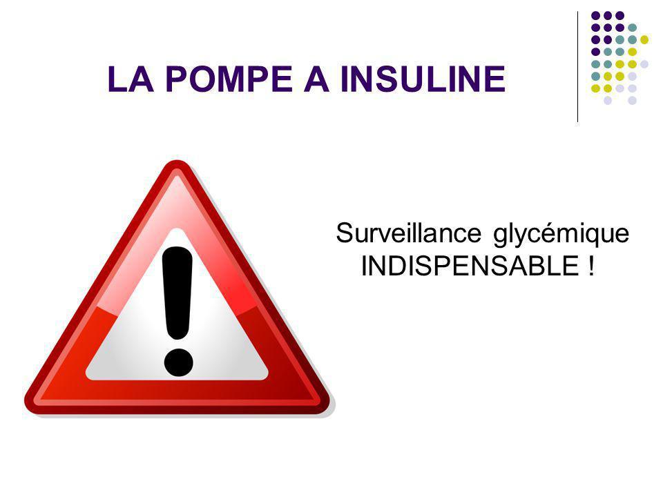 LA POMPE A INSULINE Surveillance glycémique INDISPENSABLE !