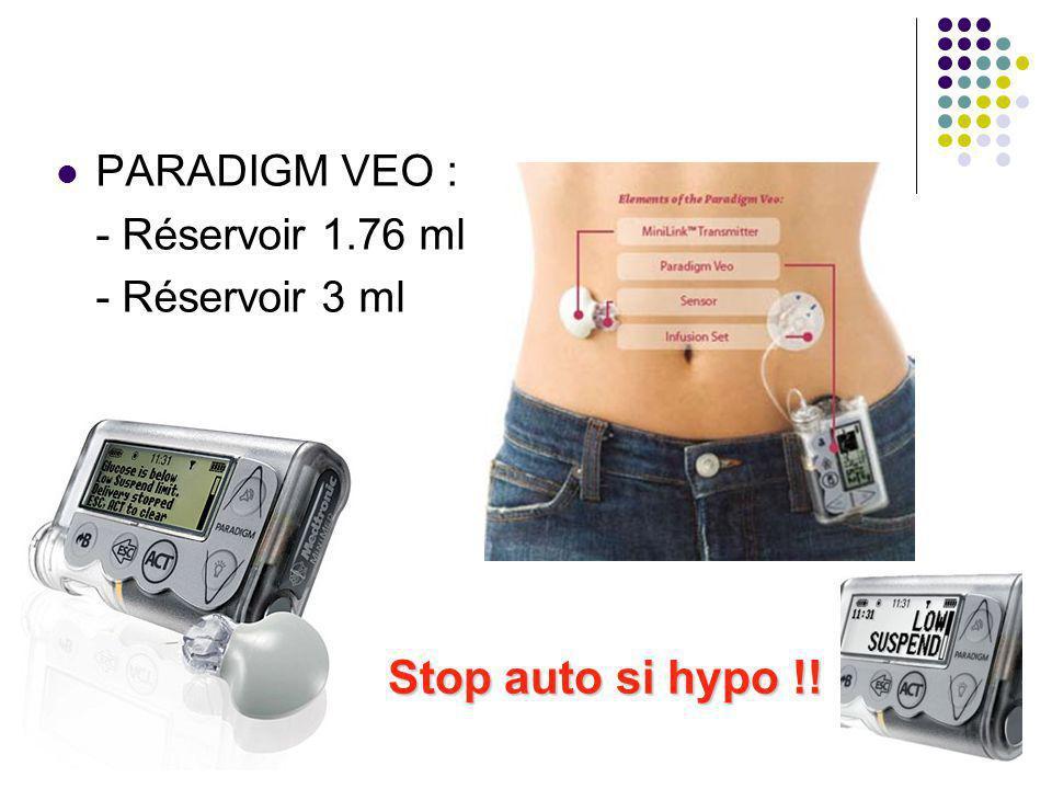 PARADIGM VEO : - Réservoir 1.76 ml - Réservoir 3 ml Stop auto si hypo !!