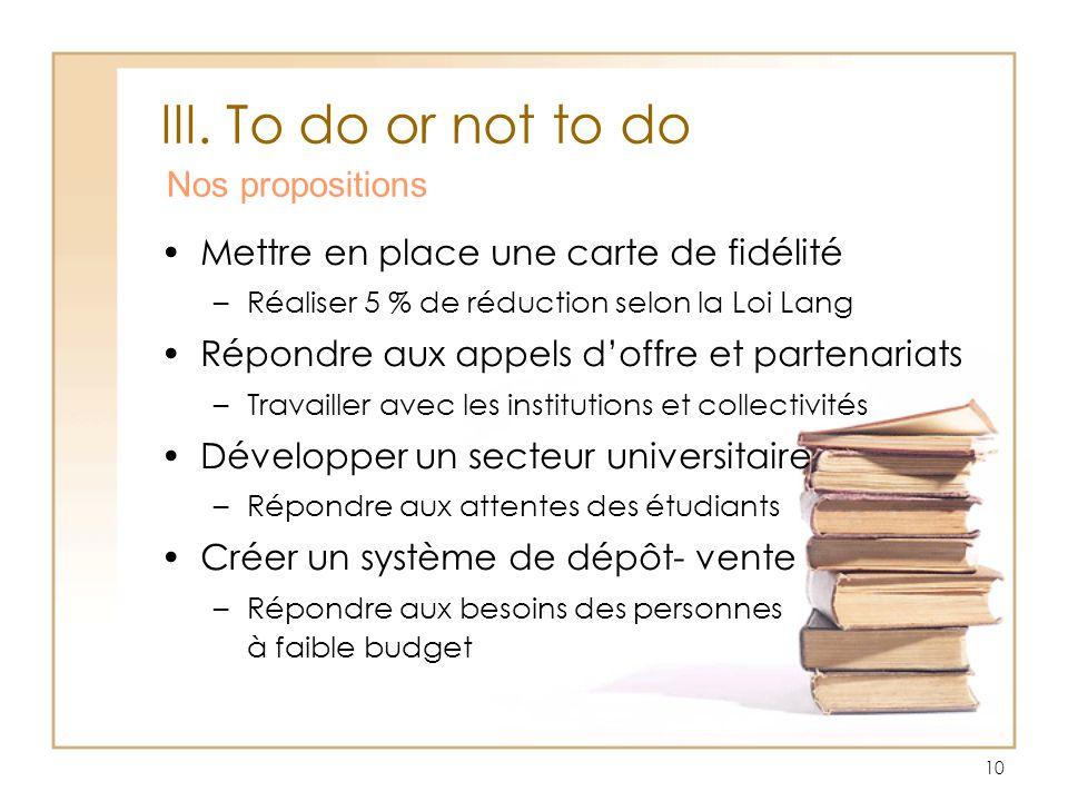 10 III. To do or not to do Nos propositions Mettre en place une carte de fidélité –Réaliser 5 % de réduction selon la Loi Lang Répondre aux appels dof