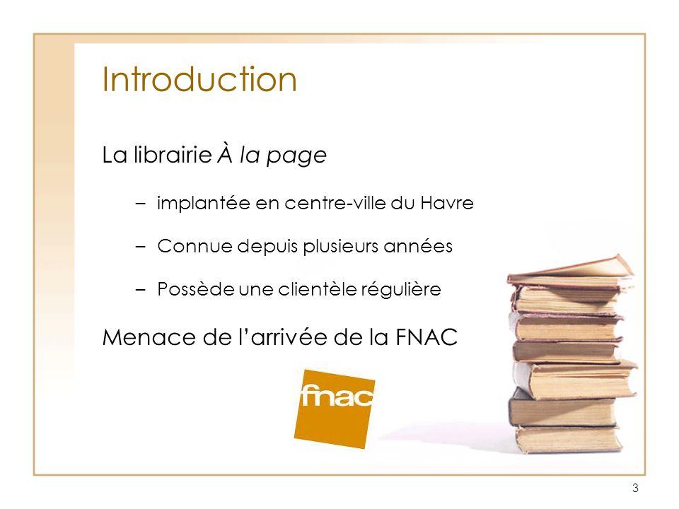 3 Introduction La librairie À la page –implantée en centre-ville du Havre –Connue depuis plusieurs années –Possède une clientèle régulière Menace de l