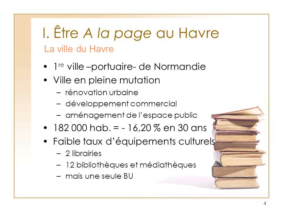 4 I. Être A la page au Havre 1 re ville –portuaire- de Normandie Ville en pleine mutation –rénovation urbaine –développement commercial –aménagement d
