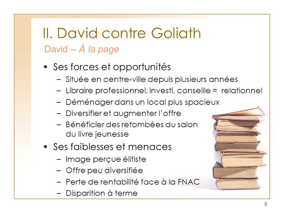 8 II. David contre Goliath David – À la page Ses forces et opportunités –Située en centre-ville depuis plusieurs années –Libraire professionnel, inves