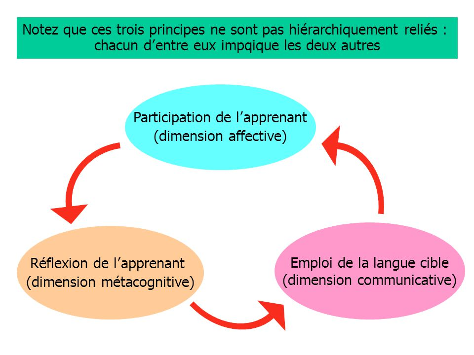Notez que ces trois principes ne sont pas hiérarchiquement reliés : chacun d entre eux impqique les deux autres Participation de l apprenant (dimension affective) Réflexion de l apprenant (dimension métacognitive) Emploi de la langue cible (dimension communicative)