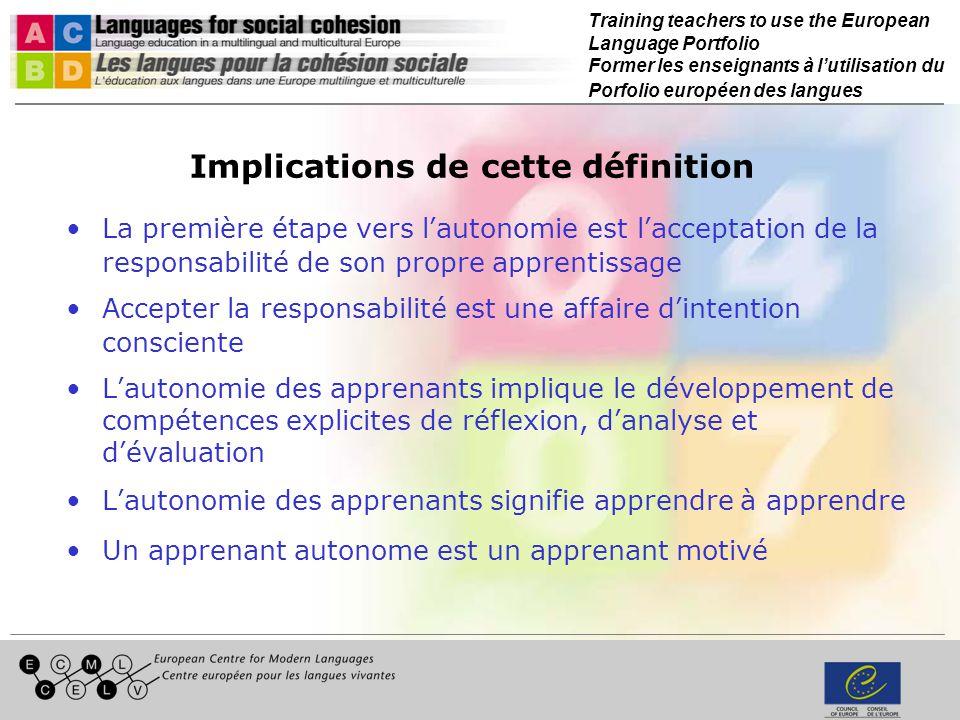 Training teachers to use the European Language Portfolio Former les enseignants à lutilisation du Porfolio européen des langues Références Deci, E.