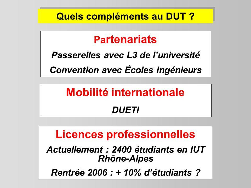 Licences professionnelles Actuellement : 2400 étudiants en IUT Rhône-Alpes Rentrée 2006 : + 10% détudiants ? Quels compléments au DUT ? Pa rtenariats