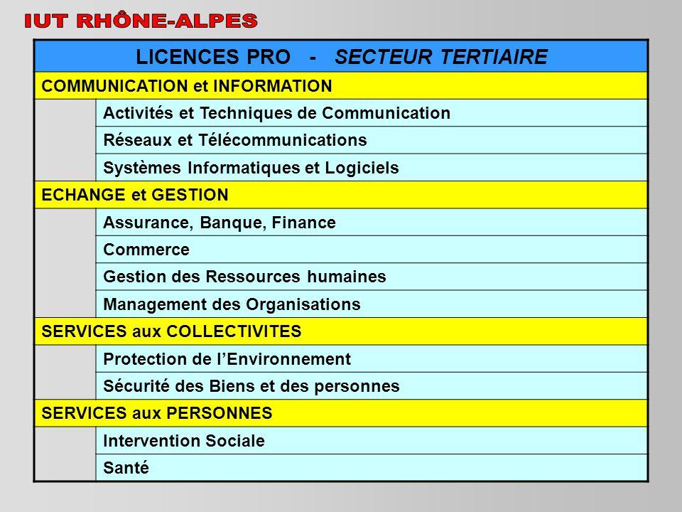 LICENCES PRO - SECTEUR TERTIAIRE COMMUNICATION et INFORMATION Activités et Techniques de Communication Réseaux et Télécommunications Systèmes Informat
