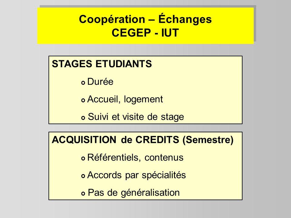 Coopération – Échanges CEGEP - IUT STAGES ETUDIANTS o Durée o Accueil, logement o Suivi et visite de stage ACQUISITION de CREDITS (Semestre) o Référen