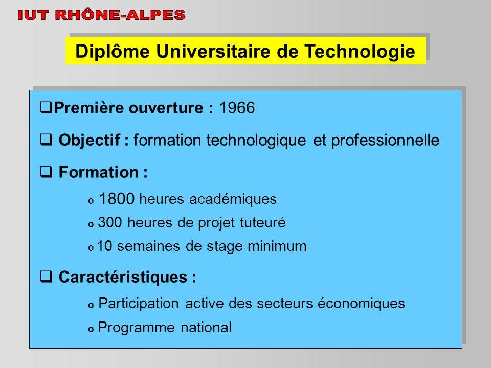 Diplôme Universitaire de Technologie Première ouverture : 1966 Objectif : formation technologique et professionnelle Formation : o 1800 heures académi