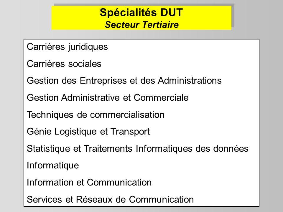 Carrières juridiques Carrières sociales Gestion des Entreprises et des Administrations Gestion Administrative et Commerciale Techniques de commerciali