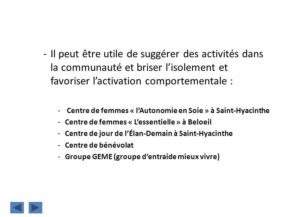 -Il peut être utile de suggérer des activités dans la communauté et briser lisolement et favoriser lactivation comportementale : - Centre de femmes «