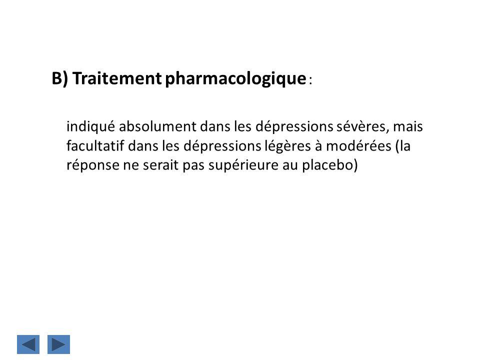B) Traitement pharmacologique : indiqué absolument dans les dépressions sévères, mais facultatif dans les dépressions légères à modérées (la réponse n