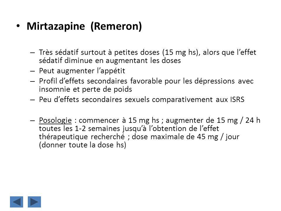 Mirtazapine (Remeron) – Très sédatif surtout à petites doses (15 mg hs), alors que leffet sédatif diminue en augmentant les doses – Peut augmenter lap