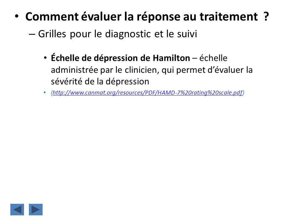 Comment évaluer la réponse au traitement ? – Grilles pour le diagnostic et le suivi Échelle de dépression de Hamilton – échelle administrée par le cli
