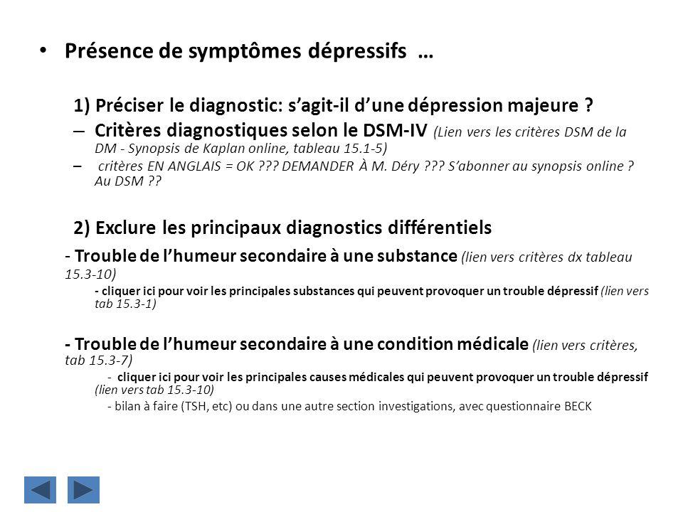 Présence de symptômes dépressifs … 1) Préciser le diagnostic: sagit-il dune dépression majeure ? – Critères diagnostiques selon le DSM-IV (Lien vers l