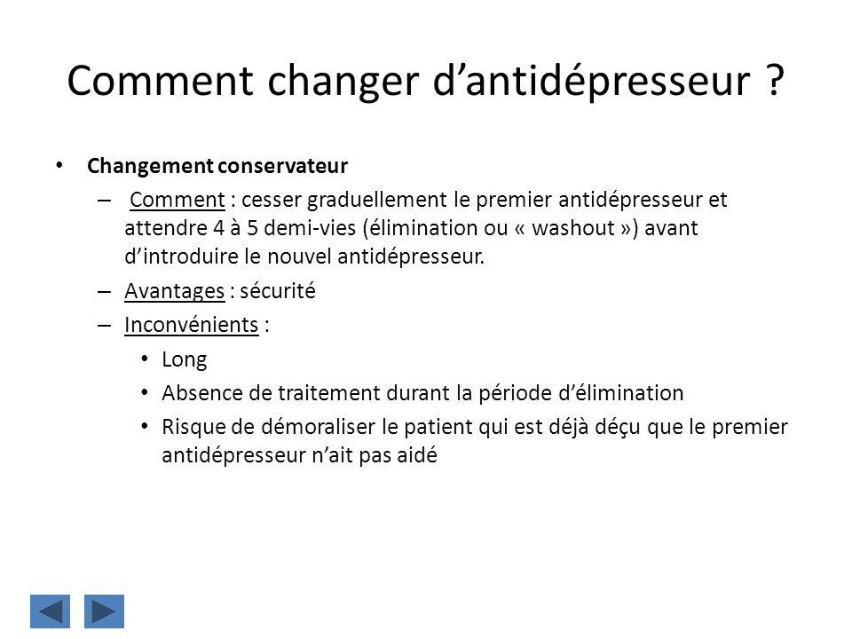 Comment changer dantidépresseur ? Changement conservateur – Comment : cesser graduellement le premier antidépresseur et attendre 4 à 5 demi-vies (élim