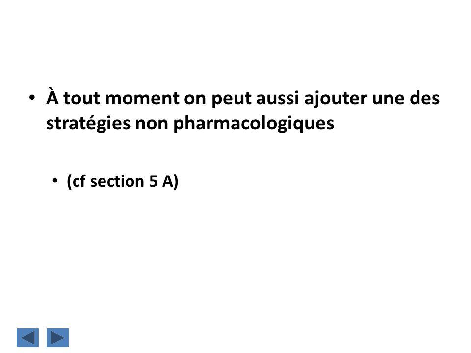 À tout moment on peut aussi ajouter une des stratégies non pharmacologiques (cf section 5 A)