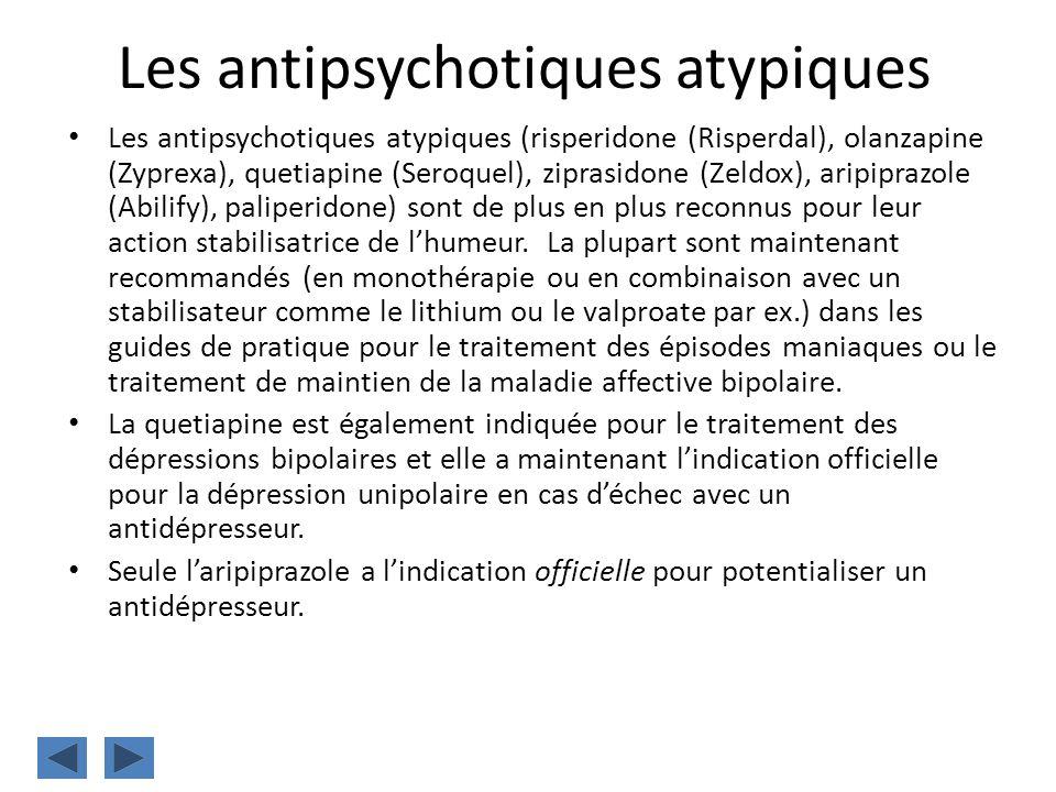 Les antipsychotiques atypiques Les antipsychotiques atypiques (risperidone (Risperdal), olanzapine (Zyprexa), quetiapine (Seroquel), ziprasidone (Zeld