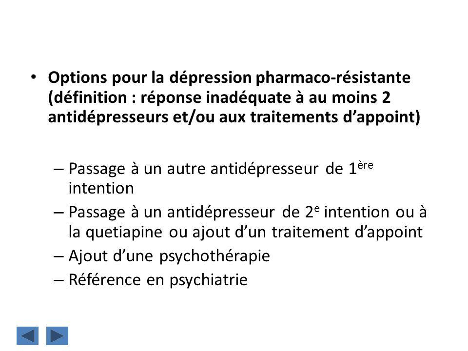 Options pour la dépression pharmaco-résistante (définition : réponse inadéquate à au moins 2 antidépresseurs et/ou aux traitements dappoint) – Passage