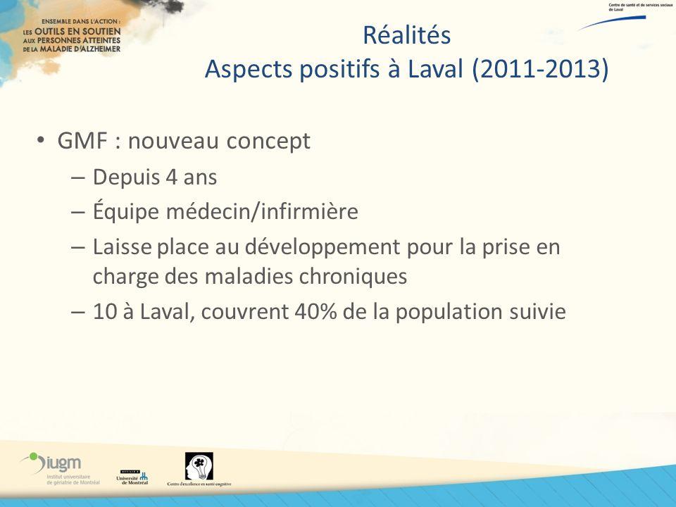 Réalités Aspects positifs à Laval (2011-2013) GMF : nouveau concept – Depuis 4 ans – Équipe médecin/infirmière – Laisse place au développement pour la