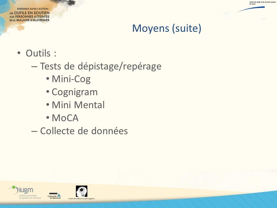 Moyens (suite) Outils : – Tests de dépistage/repérage Mini-Cog Cognigram Mini Mental MoCA – Collecte de données