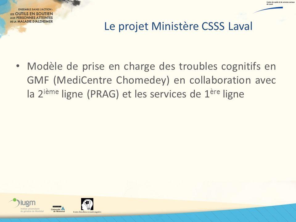 Le projet Ministère CSSS Laval Modèle de prise en charge des troubles cognitifs en GMF (MediCentre Chomedey) en collaboration avec la 2 ième ligne (PR