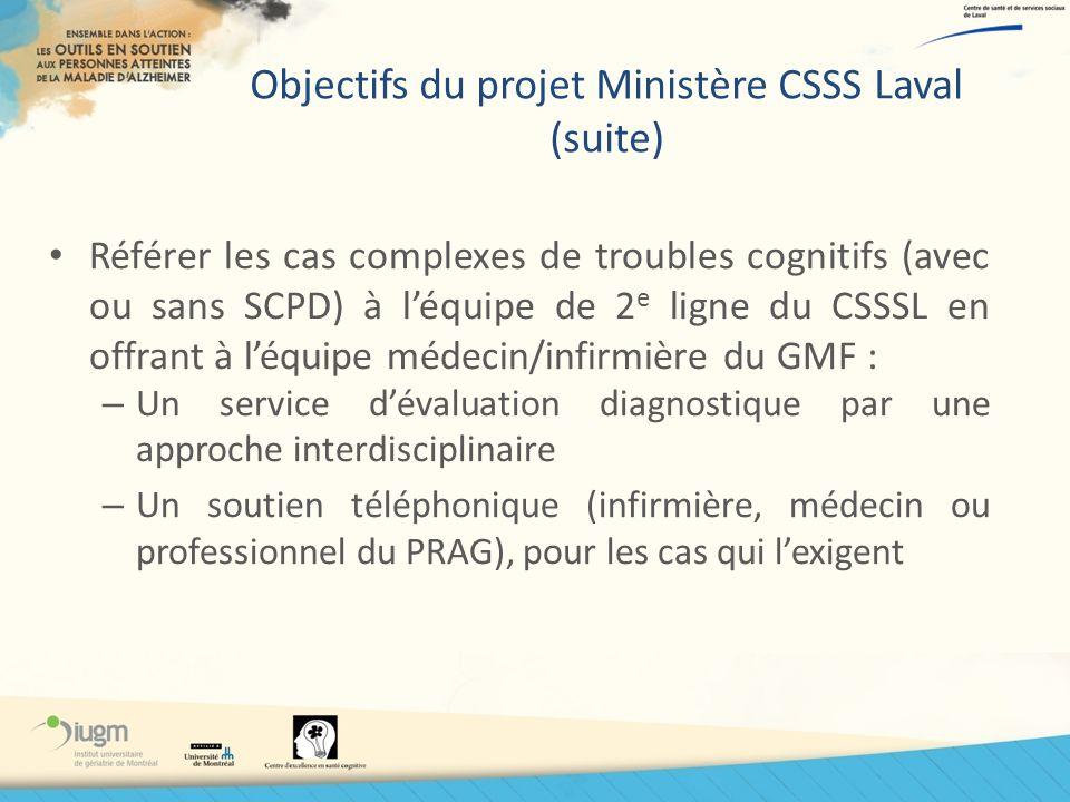 Objectifs du projet Ministère CSSS Laval (suite) Référer les cas complexes de troubles cognitifs (avec ou sans SCPD) à léquipe de 2 e ligne du CSSSL e